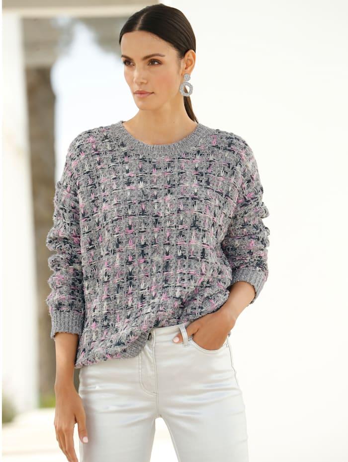 AMY VERMONT Pullover mit silberfarbenen Lurex-Fäden allover, Silberfarben/Rosé