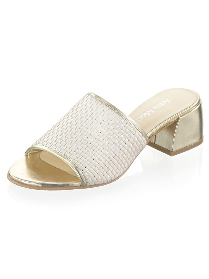 Alba Moda Pantolette mit glanzvollem Detail, Weiß