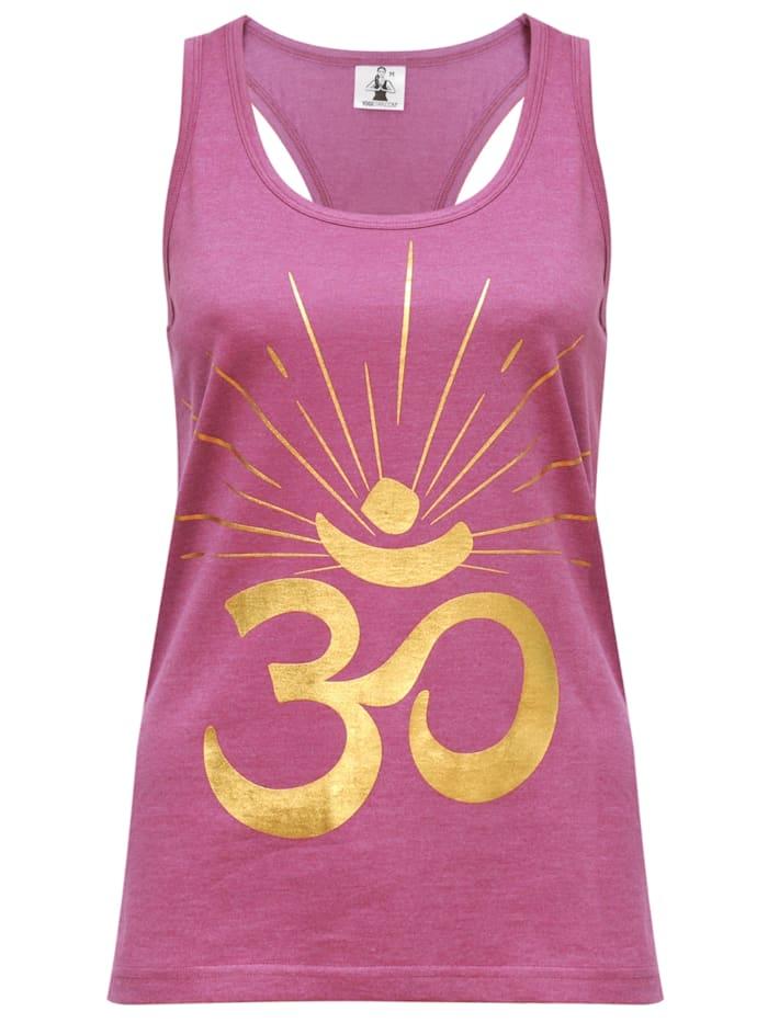 "Yoga-racerback-top ""om Sunray"" - Rosewine/gold"