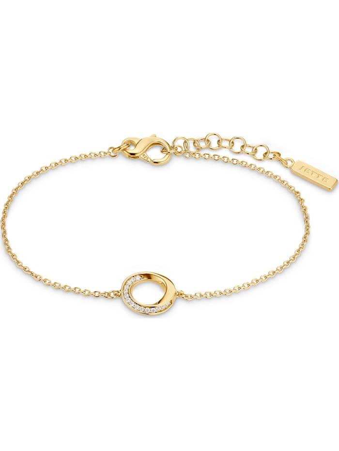 Jette JETTE Damen-Armband 925er Silber 15 Zirkonia, gelbgold
