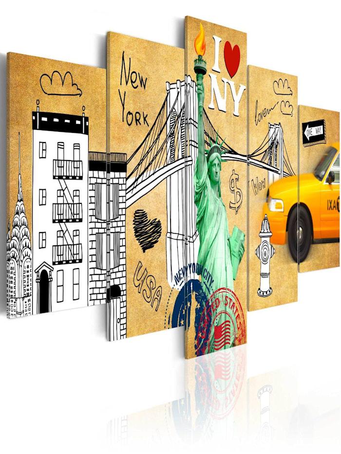 artgeist Wandbild I love New Jork City, Beige,Schwarz,Grün,Weiß,Gelb