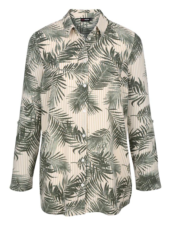 Hemdbluse mit Streifen-und Blätterdruck