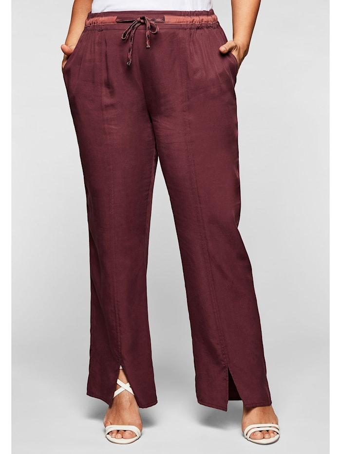 Sheego Hose in gerader Form, mit Tunnelzug und Bindeband, barolo