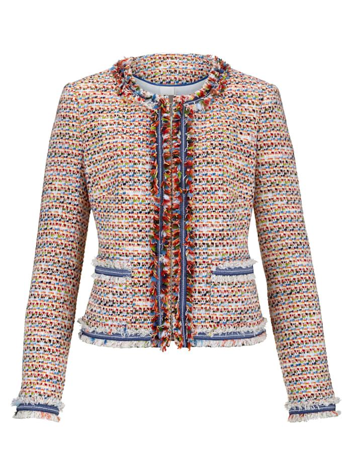 Veste en maille bouclette multicolore