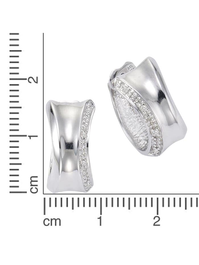 Creolen 925/- Sterling Silber Diamant weiß Diamant 1,4cm Glänzend 0,05ct 925/- Sterling Silber