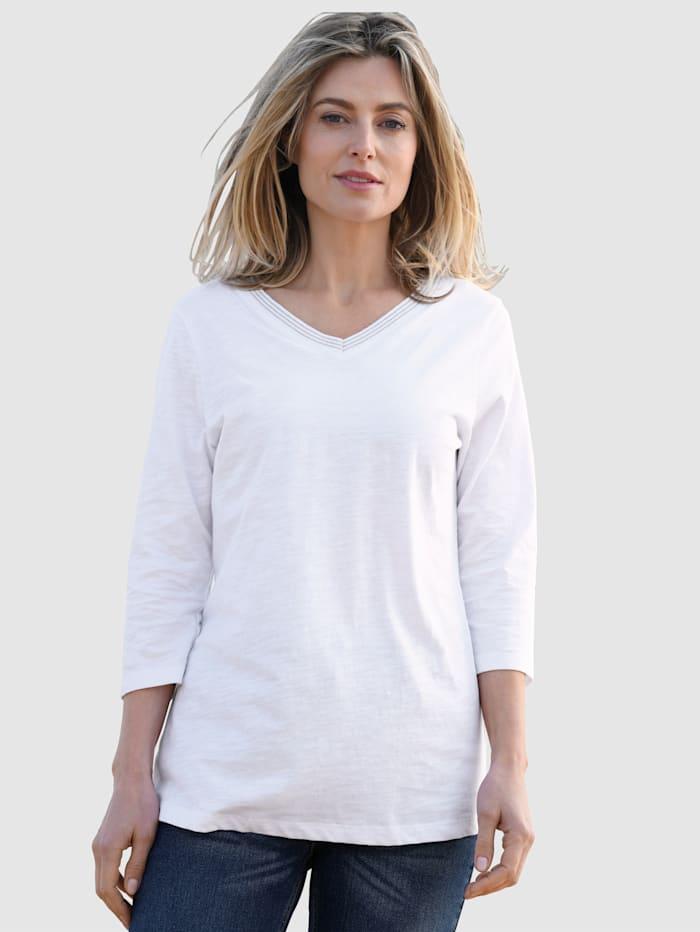 basically you Shirt met glansgaren aan de V-hals, Wit