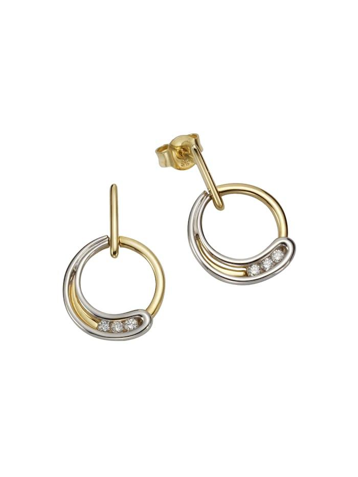 Orolino Ohrstecker 585/- Gelb- + Weißgold Brillanten 585/- Gold Brillant weiß 2,2cm Glänzend 0,12ct 585/- Gold, mehrfarbig
