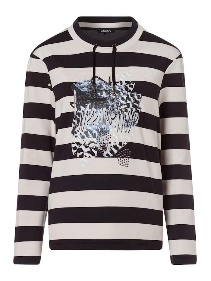 Olsen Sweatshirt mit Streifen und Placementprint, Dark Ash