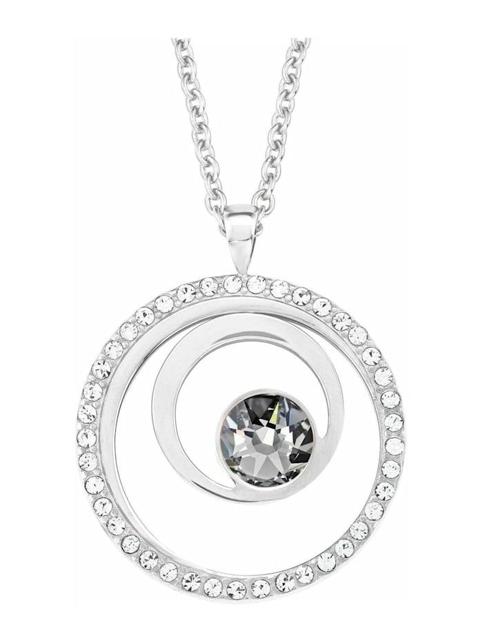 s.Oliver Kette mit Anhänger für Damen, Edelstahl, Kristallglas Kreis, Silber