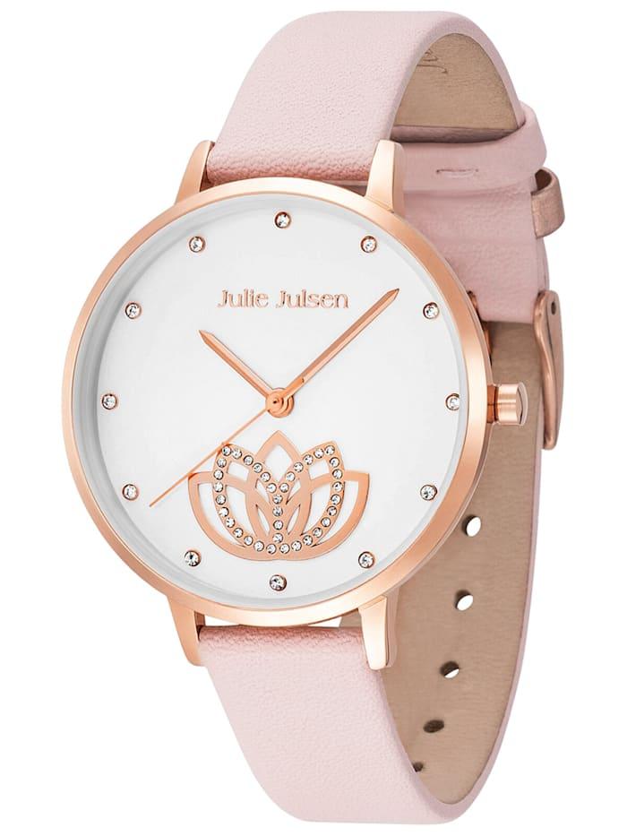 Julie Julsen Damenuhr mit Lederband Lotus Flower rosa / roségold, Weiß