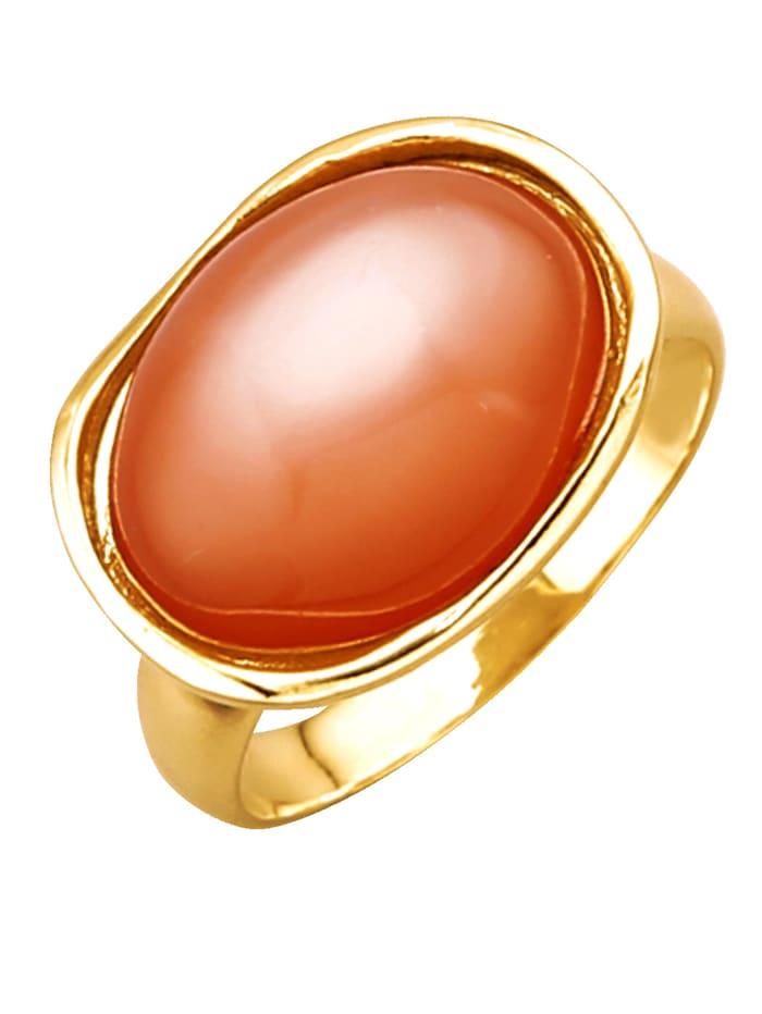 Diemer Farbstein Damenring in Gelbgold 585, Orange