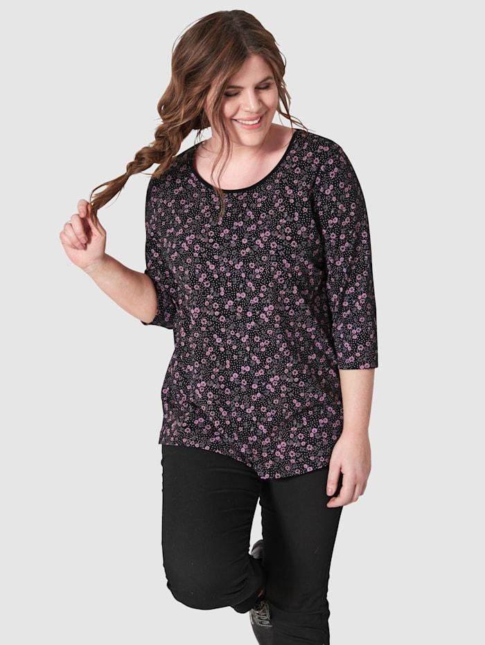 Janet & Joyce Shirt mit floralem Druck, Schwarz/Lila