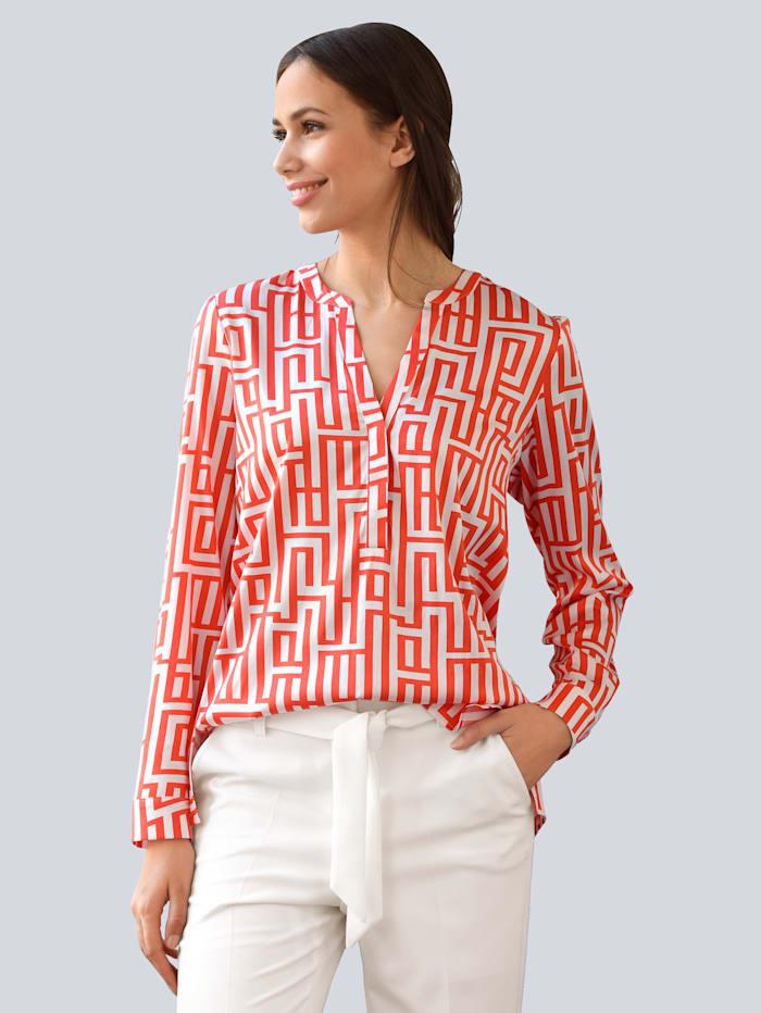 Alba Moda Bluse aus bedruckter Seidenmischung, Koralle