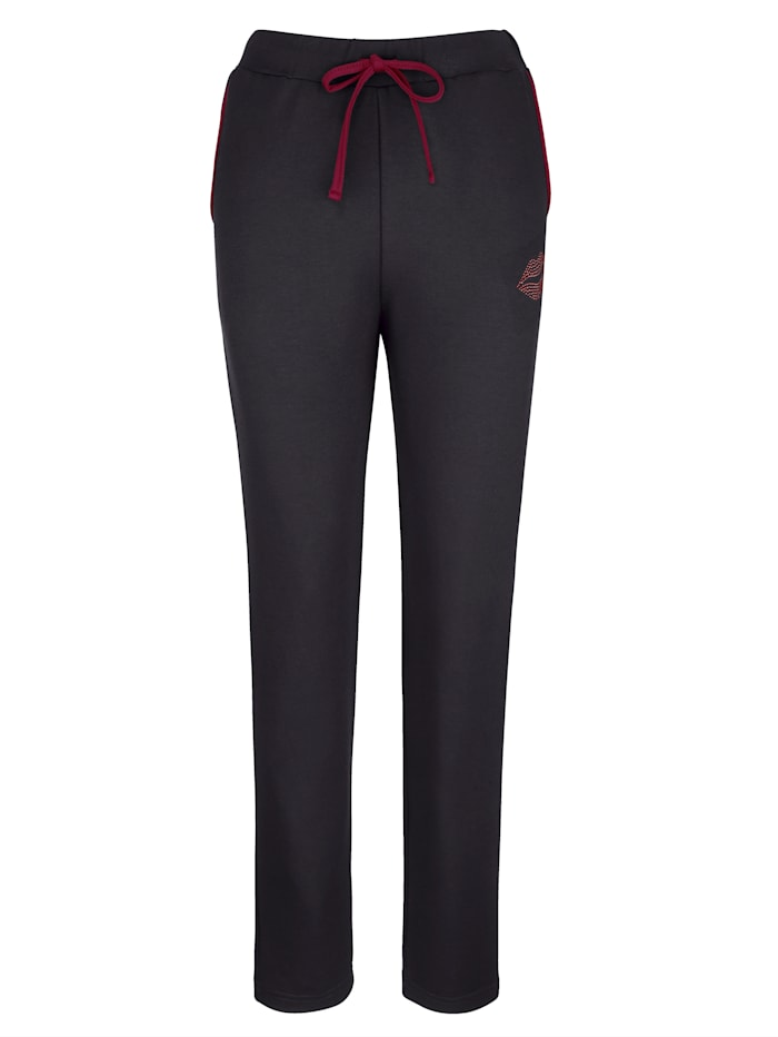Blue Moon Joggingbroek met strassteentjes, zwart/bordeaux