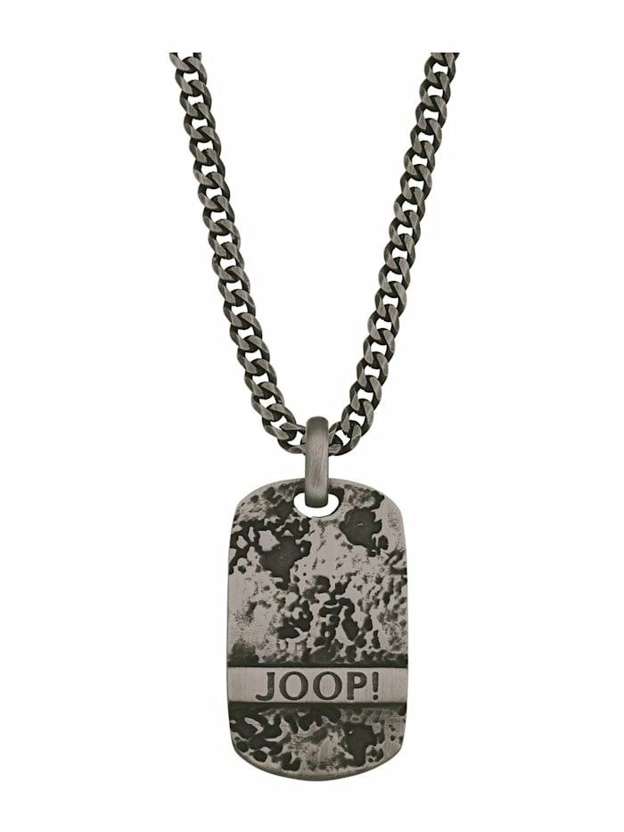 JOOP! Kette mit Anhänger für Herren, Edelstahl IP Gun, Grau