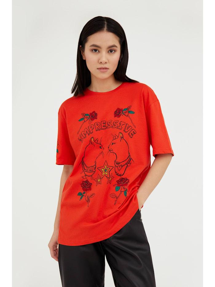 Finn Flare T-Shirt mit geradem Schnitt, red
