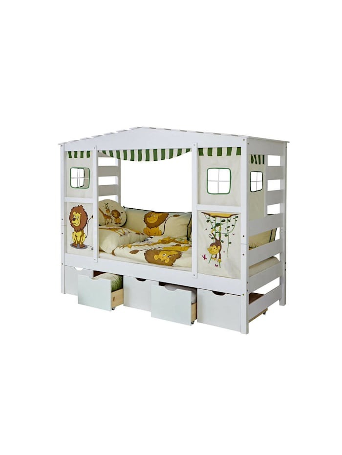 """Hausbett mit Bettkasten """"Safari"""" Kiefer Weiß"""