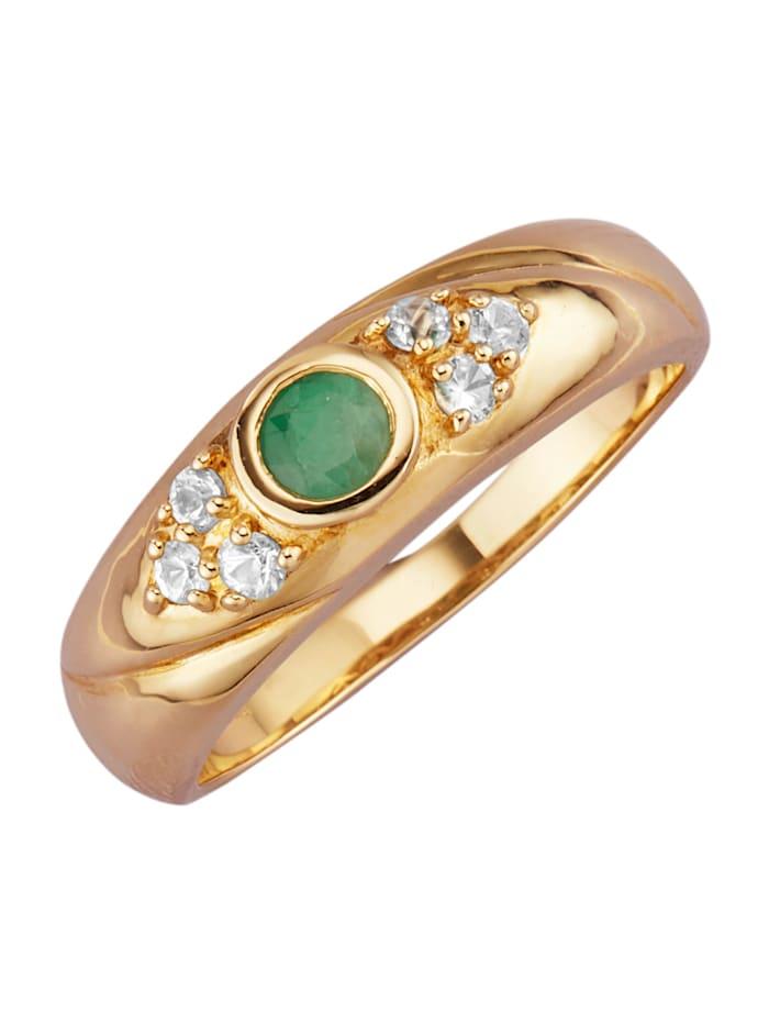 Diemer Farbstein Damenring mit Smaragd und Saphiren, Grün