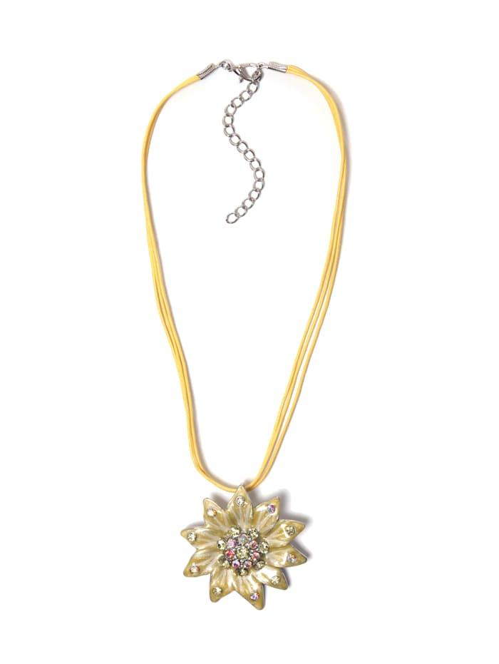 Collezione Alessandro Kurze Kette Doris mit Blütenanhänger, gelb
