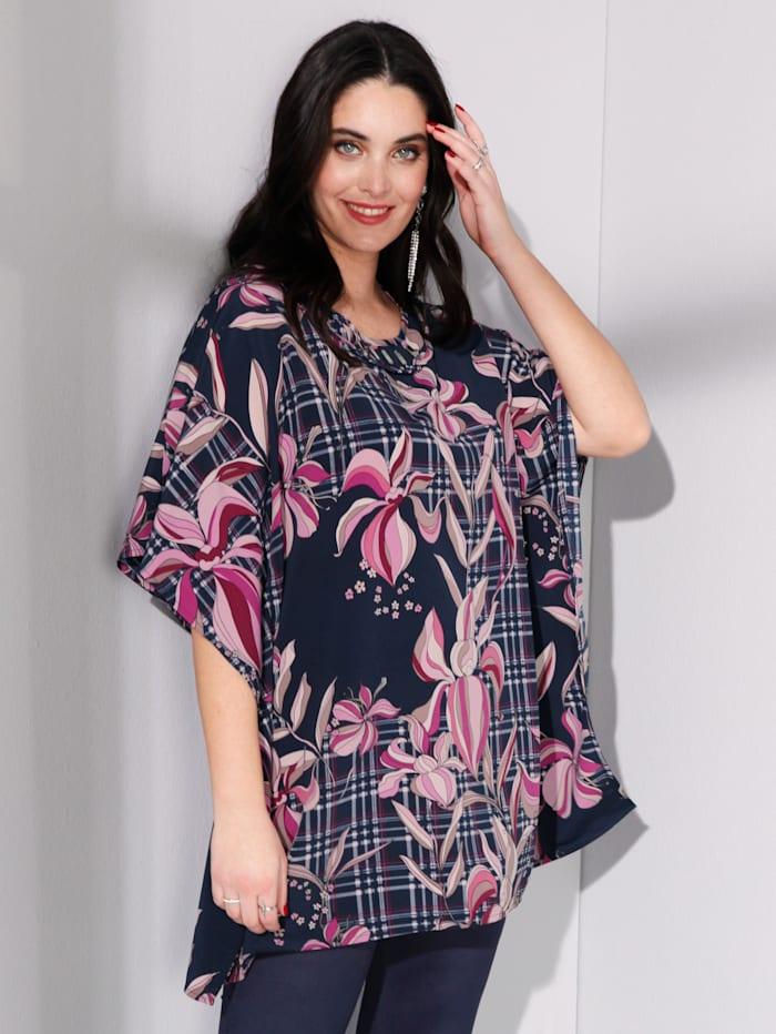 MIAMODA Bluse in weit schwingender Kaftanform, Multicolor
