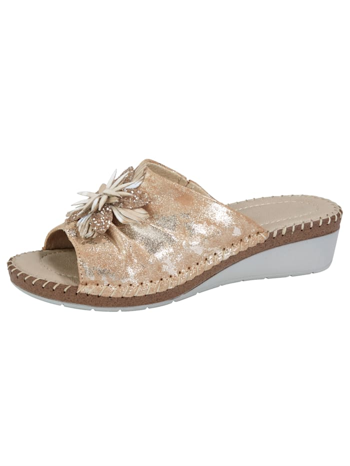 Relaxshoe Mules with beautiful flower embellishment, Beige