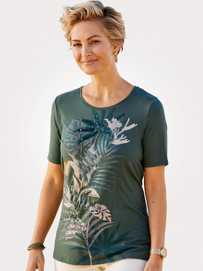 MONA T-shirt à perles fantaisie brodées, Vert foncé