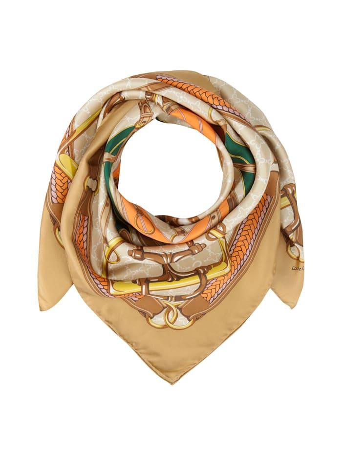 Codello Großes Seidentuch mit klassischem Foulard-Muster, camel