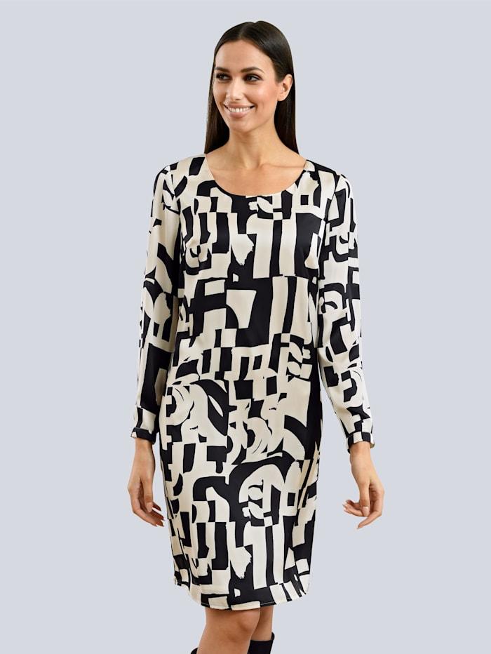 Alba Moda Kleid aus reiner Viskoseware, Schwarz/Creme-Weiß