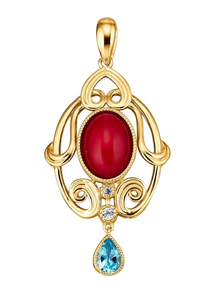 Amara Pierres colorées Pendentif en argent 925, Rouge