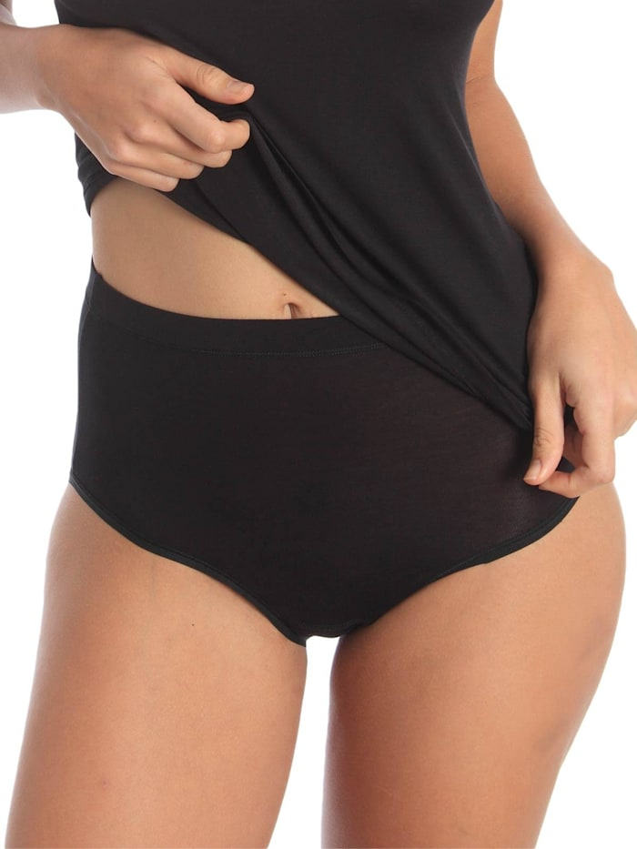 sassa Damen Maxi Slip aus Baumwolle, schwarz