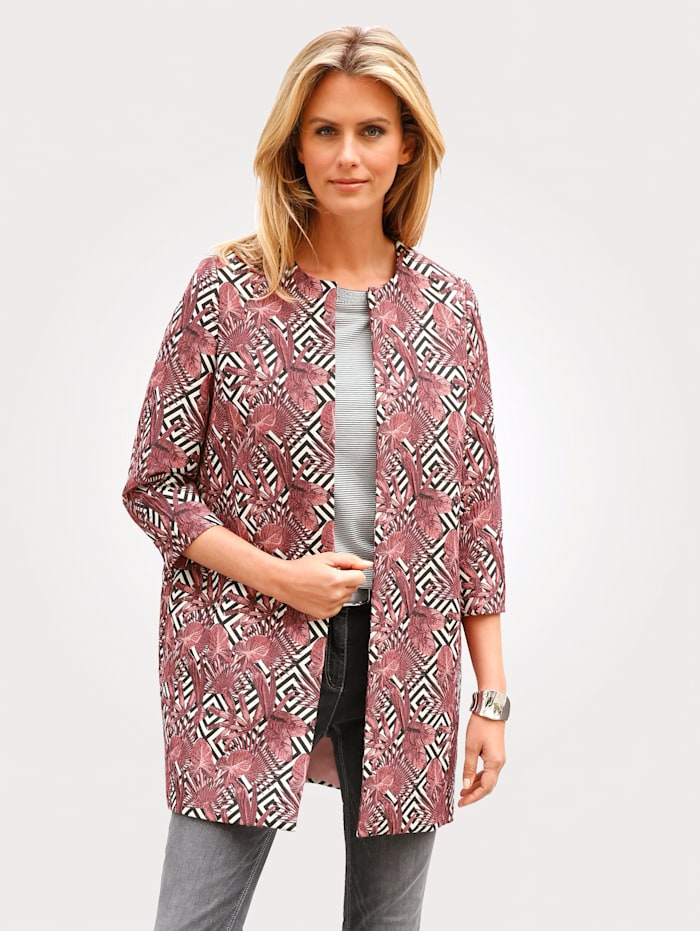 MONA Longline blazer made from a jacquard fabric, Black/Oyster/Pink