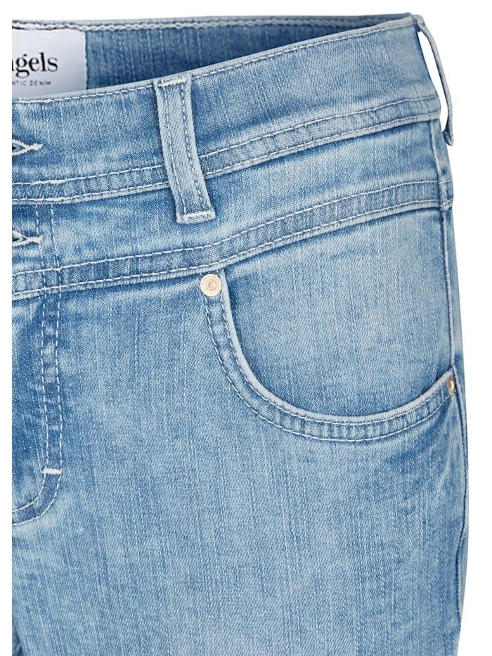 Jeans 'Ornella Button' mit unifarbenem Stoff