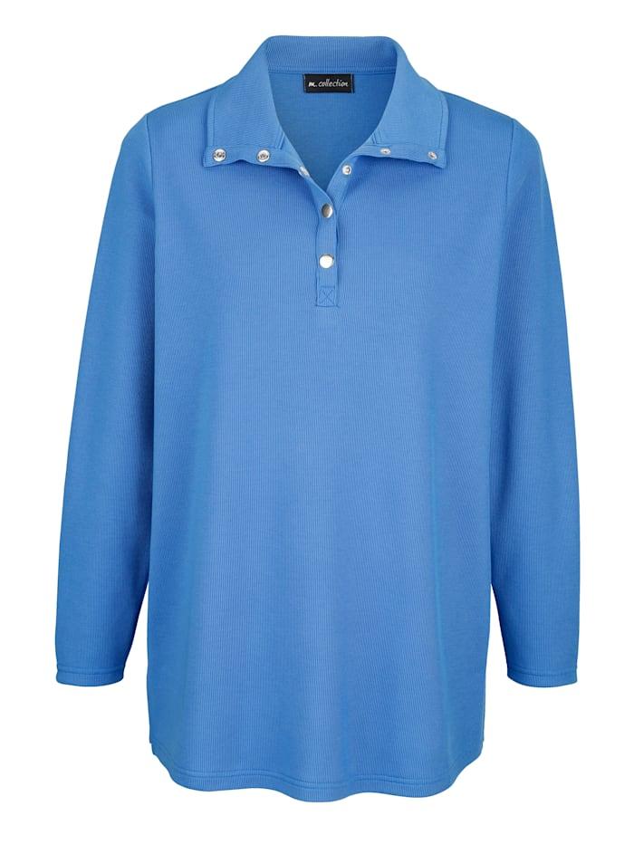 m. collection Sweatshirt mit silberfarbenen Druckknöpfen am Rundhalsausschnitt, Royalblau