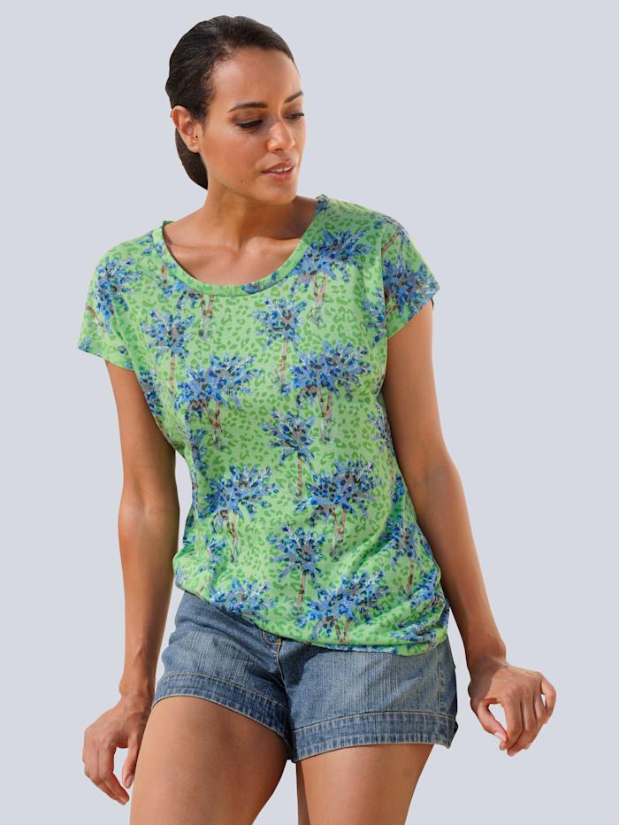 Alba Moda Strandshirt mit Palmendruck, Grün