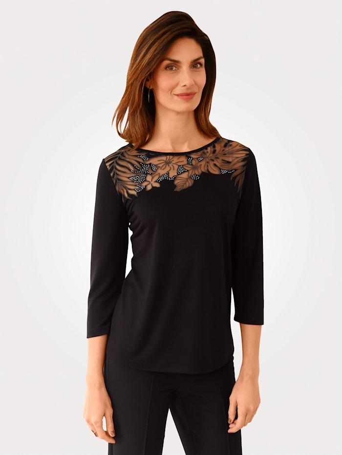 MONA T-shirt en dévoré à motif fleuri, Noir