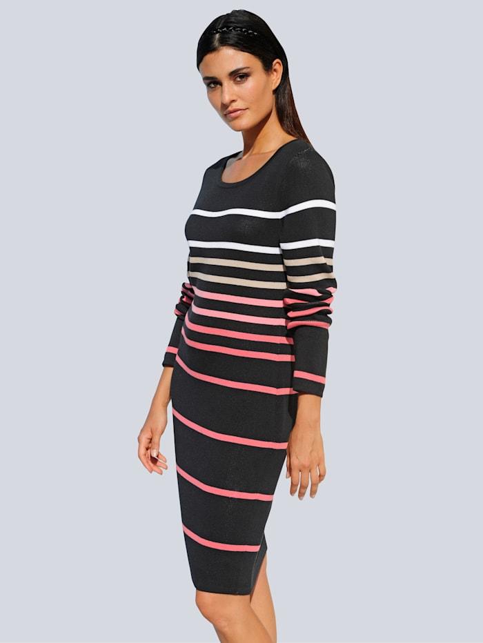 Alba Moda Strickkleid aus hochwertiger Pima Cotton Qualität, Koralle/Schwarz/Stein/Off-white
