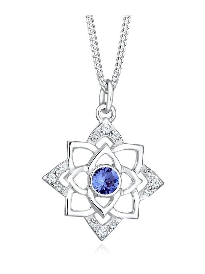 Elli Halskette Geburtsstein Lotus Swarovski® Kristalle 925 Silber, Blau