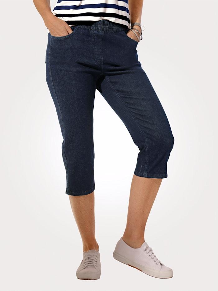 MONA Capri-jeans met elastische band met geraffineerde plooitjes, Blauw