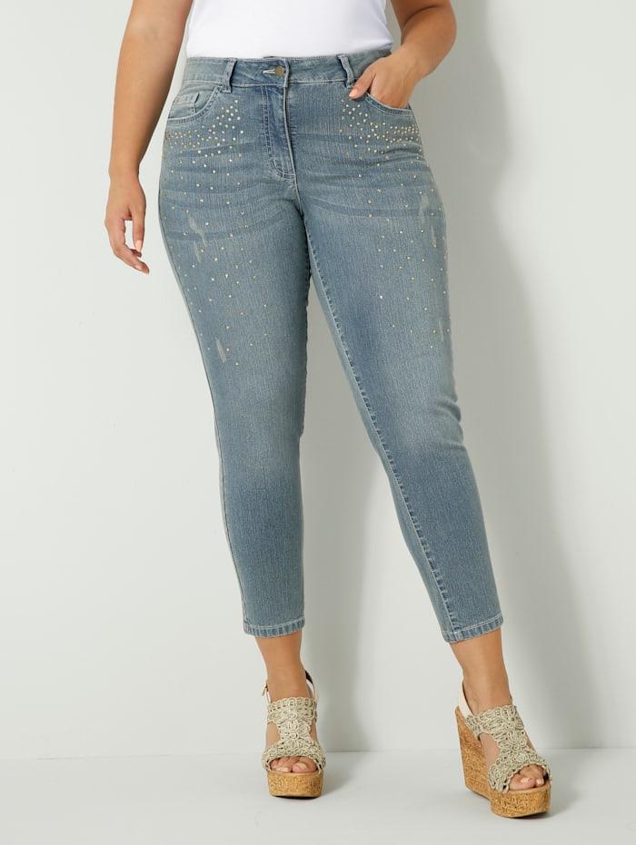 Sara Lindholm Jeans mit Strasssteinen vorne, Blau
