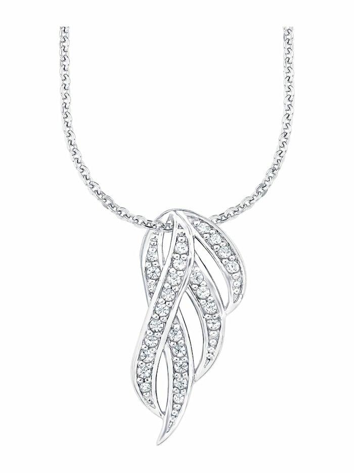amor Kette mit Anhänger für Damen, Sterling Silber 925, Zirkonia Feder, Silber