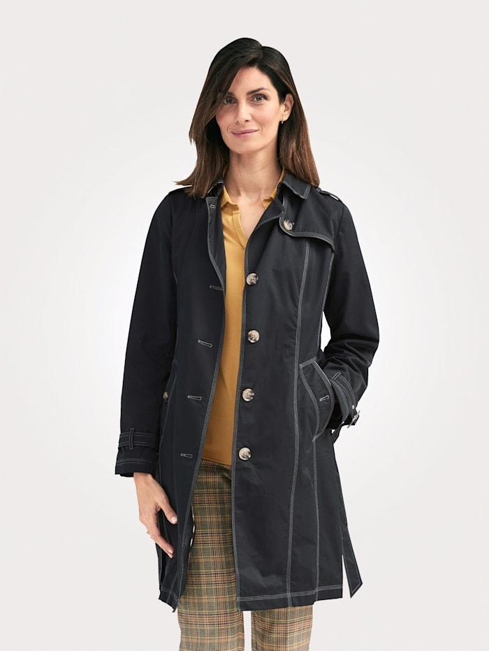 MONA Trench-coat en coton majoritaire, Noir