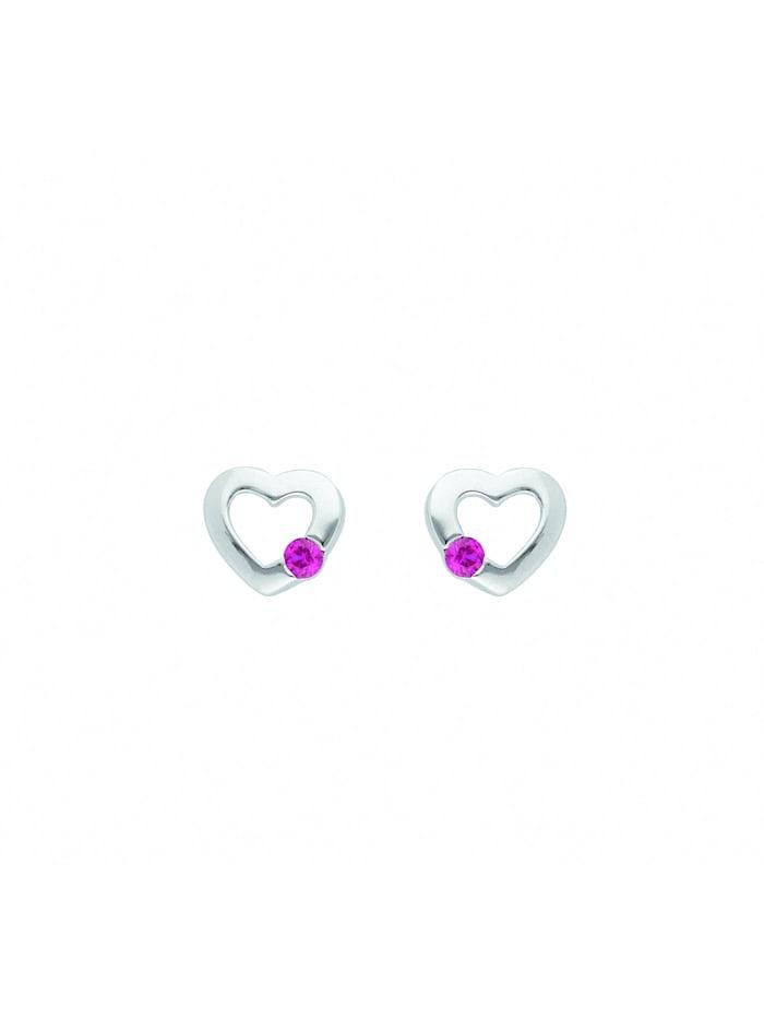 1001 Diamonds Damen Silberschmuck 925 Silber Ohrringe / Ohrstecker Herz mit Zirkonia Ø 7,3 mm, bunt