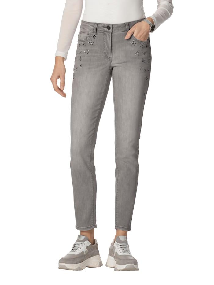 AMY VERMONT Jeans met strassteentjes, Grey