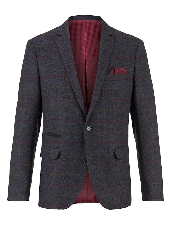 Babista Premium Vlněné sako s károvaným vzorem z barvených vláken, Tmavá modrá