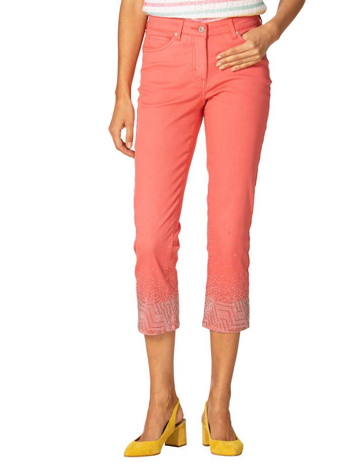 7/8-Jeans mit Strasssteindekoration