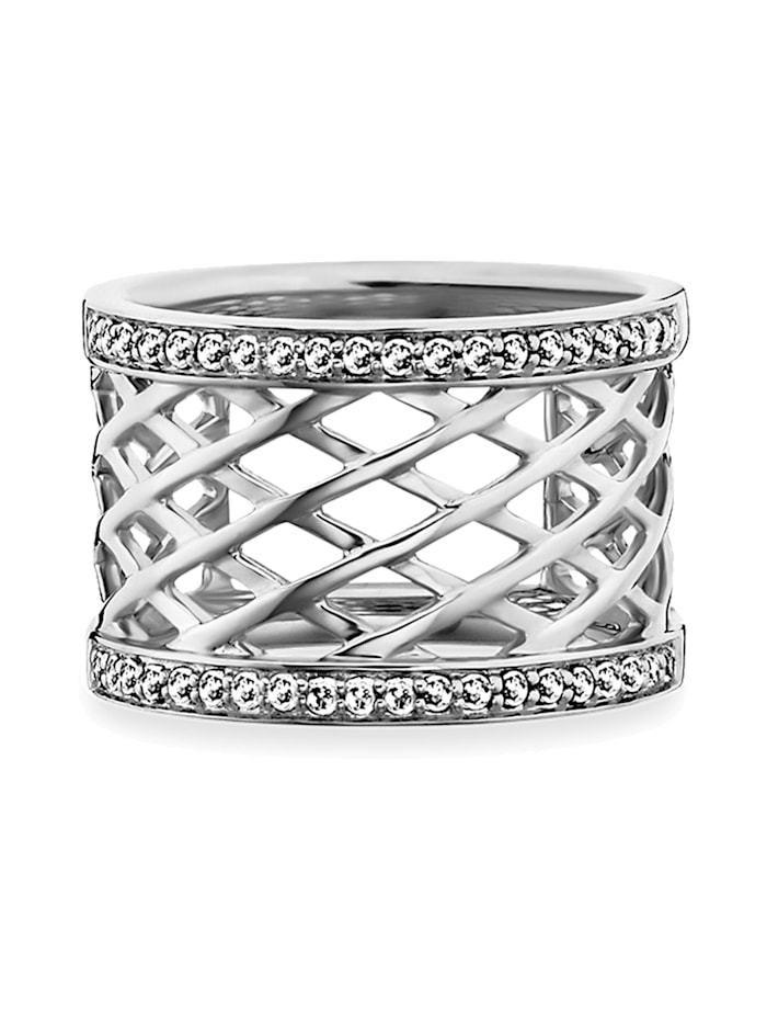CAI Ring 925/- Sterling Silber Topas weiß 54 rhodiniert 0,400ct 925/- Sterling Silber, weiß