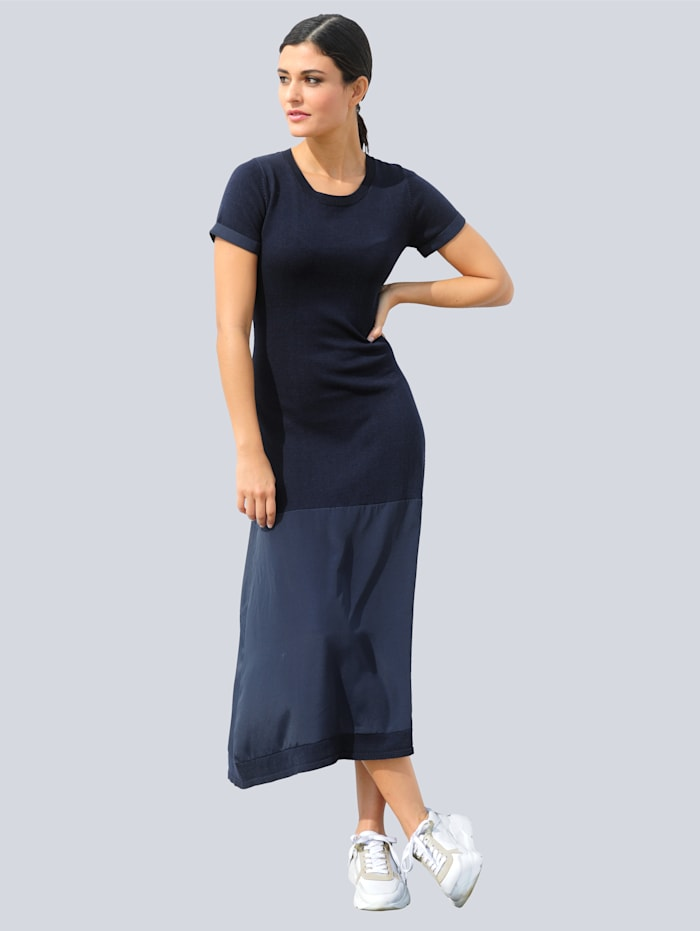 Alba Moda Strickkleid in effektvollem Materialmix, Marineblau