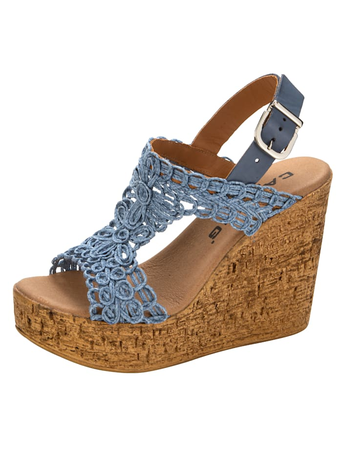 Sandaaltje in macramélook, Lichtblauw