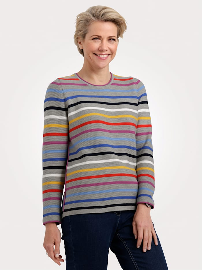Rabe Pull-over, Gris/Multicolore
