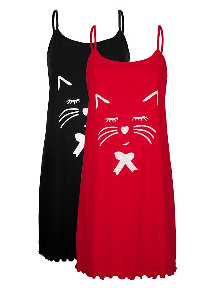 Blue Moon Nachthemden per 2 stuks met leuke kattenprint, Rood/Zwart/Wit